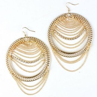 Gold Metallic Circle Chain Rhinestone Crystal Party Cocktail Earrings
