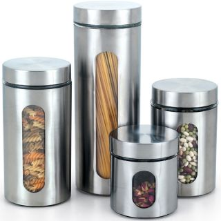 store herbs spices and more with this four piece glass canister set
