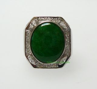 18K White Gold Oval Green Jadeite Octagon Man Ring J101