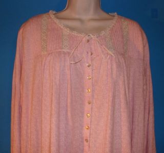 Eileen West Pink Floral Long Nightgown w Lace Trim L