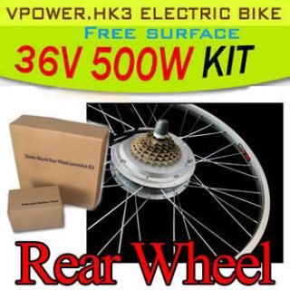 26 Rear Wheel Electric Bicycle Motor Kit E Bike Cycling Conversion Hub