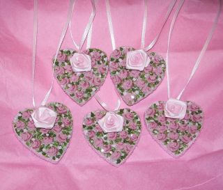 Cottage Roses Handpainted Heart Shape Gift Tags Set P E P Chic