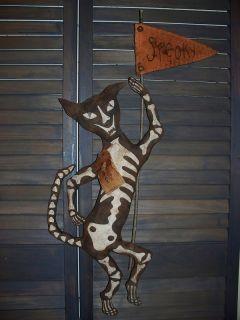 Primitive Halos Eve SKELETON BLACK CAT Spooky Halloween Doll