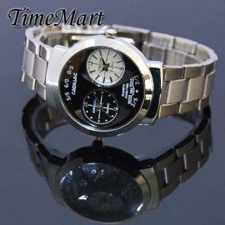 Silver Tone Mens Ladies Dual Time Zone Travel Quartz Wrist Watch New