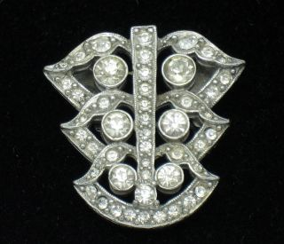 Lovely ART DECO Vintage Signed EA Rhodium Rhinestone Brooch Pin
