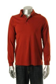 Tasso Elba New Orange Long Sleeves Polo Shirt s BHFO