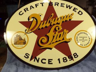 DUBUQUE STAR BREWERY BEER SIGN FORM DUBUQUE IOWA EMBOSSED TIN NICE