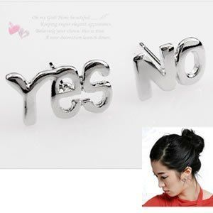 YES NO Letters Words Bead Ear Pin Stud Earrings Jewellery Gift 1Pair