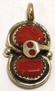 Zuni Coral Sterling Silver Snake Charm Pendant   Effie Calavaza