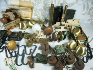 Lot of Vintage ANTIQUE DOOR HARDWARE Porcelain knobs Locks hooks and