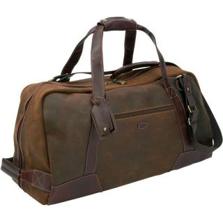 Country Large Suede Duffle Bag Brown Travel Luggage Case Gym w Leather