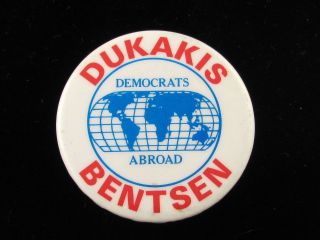 1988 MIKE DUKAKIS FOR PRESIDENT 1 3 4 PINBACK CAMPAIGN BUTTON