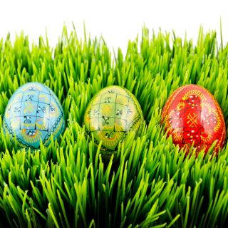 Wooden Easter Eggs with Stands, Hand Painted Ukrainian Eggs, Pysanky