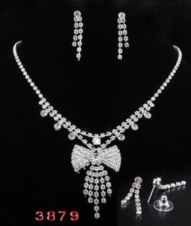 Fashion Clear Czech Rhinestone Necklace Earring Set Wedding Party