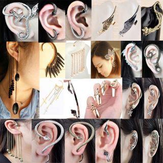 Silver Vintage Snake Ear Cuff Skull Tassels Earrings Rings A