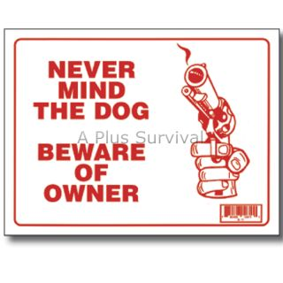 Dog Beware of Owner 9 x 12 Safety Sign for Home Business Yard