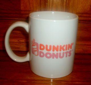 Vtg Dunkin Donuts Coffee Cup Ceramic Mug 9 oz Orange Pink Logo Letters