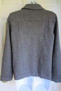 Eileen Fisher Petite Gray Merino Wool Cardigan Sweater Double Breasted