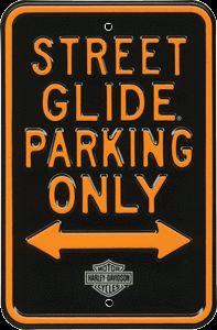NEW HARLEY DAVIDSON MOTORCYCLE STREET GLIDE PARKING ONLY PORCELAIN