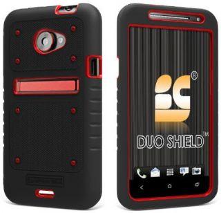 Red Black Duo Shield Rubber Skin Case Screen Saver for Sprint HTC EVO