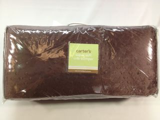 New Carters Super Soft Bumper Pads Chocolate Brown Baby Crib Bed Free