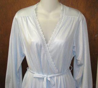 Miss Elaine Light Blue Long Nightgown Robe Set Small