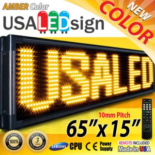 LED Signs 65x15 Amber 10mm Outdoor Programmable Scroll Message Board
