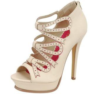 Beige Pink High Heels Bow Tie Platform Sandals Designer Womens Shoes