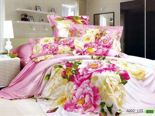 4pcs 100 Cotton New Full Queen Pink Flower Quilt Cover Duvet Cover Set