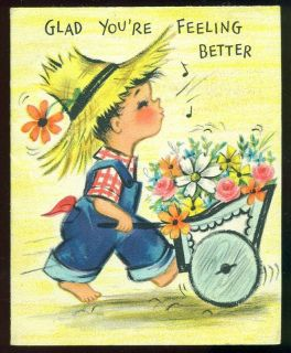 Vintage Hallmark Get Well Card Boy Wagon of Flowers