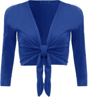 New Ladies Shrug Tie Up Long Sleeve Top Womens Szs 8 14