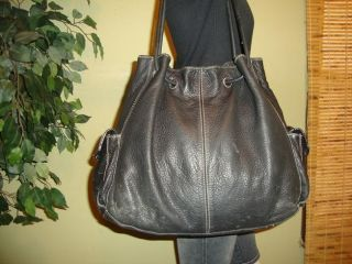 LG Black Leather Enzo Angiolini Shoulder Bag Purse Tote