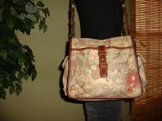 Flowered Brown Canvas Leather Fossil No 054 Shoulder Crossbody bag