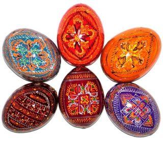 Wooden Easter Eggs Hand Painted Ukrainian Pysanky Easter Eggs Folk