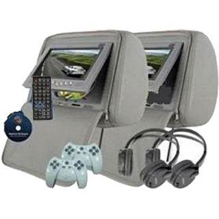 Headrest DVD Player Set Gray 300 Games 2 Wireless Headphpnes