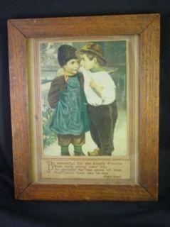 and Crafts Era Oak Frame Edgar Guest Motto Print Friendship