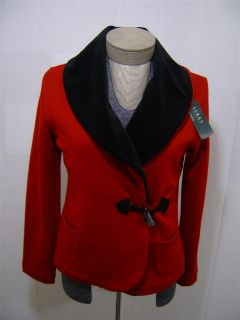 Ralph Lauren Polo Womens L Shawl Cardigan Toggle Velvet Red Black Coat