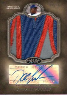 DWIGHT GOODEN 2012 TOPPS TIER ONE JUMBO 3 CLR LOGO PATCH AUTO #03/10