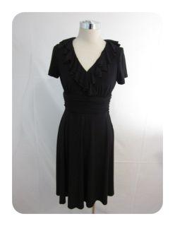 New Jessica Howard Black Jersey Ruffle V Neck Empire Dress 6P $90