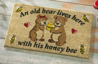 New Old Bear Honey Welcome Door Mat Outdoor Coir Rug Garage Shed Deck