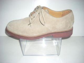 Mens Polo Ralph Lauren Tan Suade Leather Oxford Shoes Size 10 5 D