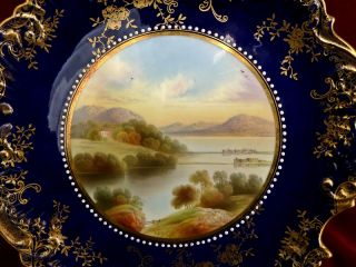 Antique Aynsley Scenic Landscape Plate Loch Fad Hand Painted Cobalt