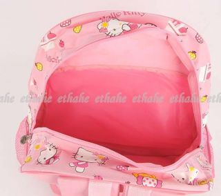 Hello Kitty Cute Prints Nylon Schoolbag Backpack Knapsack Bookbag Pink