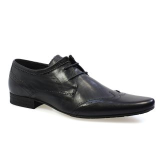 by Hudson Ellington New Dye Black Leather Mens Brogue Shoes