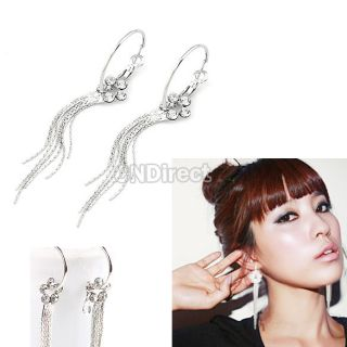 Elegant Silver Crystal Rhinestone Flower Tassel Dangle Long Earrings