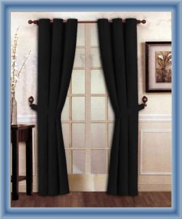 New Elegant Solid Black Micro Suede Window Curtain Grommet Panel Set
