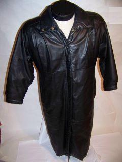 Eddie Bauer Long Black Leather Coat Warm Down Liner S