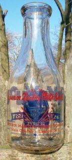 Odd Thatcher Manufacturing Elmira NY WW II Patriotic Dairy Milk Bottle