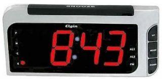 Elgin 4537 Electric Auto Set Extra Large 2 Display Alarm Clock w Dual