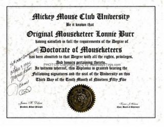1995 Mickey Mouse Club Honorary Diploma Original Mouseketeer Lonnie